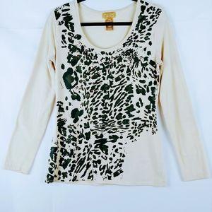 Womens Leopard Print Top Long Sleeve Size M